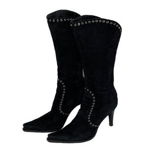 """Sergio Rossi   Suede Heeled Boots Studded 4"""" Heels"""